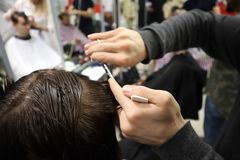 Master hairdresser does hairstyle and style with scissors and comb. Master stacks hair of men in barbershop, hairdresser makes hai royalty free stock image