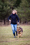 Master and her obedient  dog Royalty Free Stock Photo