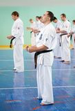 Master karate gives a lesson Royalty Free Stock Image