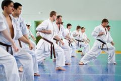 Master karate gives a lesson Stock Image