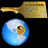 Master Key. The possibility of a credit card to open the World Stock Images