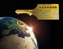 Master Key. The possibility of a credit card to open the World Stock Photography