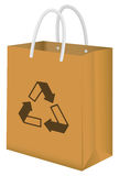 Master key lock iconbrown recycle paper bag Stock Photo