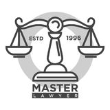 Master lawyer agency monochrome promotional logotype with scales. Master lawyer agency established in 1996 monochrome promotional logotype with vintage scales Stock Photography