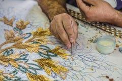 Master make artistic mosaics. Mosaic in Jordan Royalty Free Stock Image