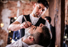 Free Master Makes Beards Correction In Barbershop Salon. Close Up Photo. Stock Images - 87860614