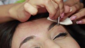 Master makes correction of eyebrows shape in a beauty salon. Master makes correction of eyebrows shape with tweezers for woman in a beauty salon. Closeup. Macro stock video