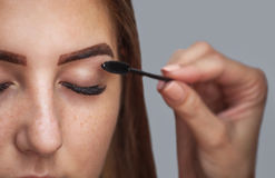 Master makeup corrects, and gives shape to pull out with forceps Stock Photo
