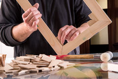 Master making framework for canvas Stock Photo