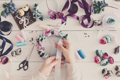 Master making handmade jewelry, top view Stock Photography