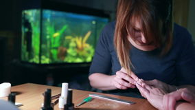 Master making manicure. stock footage