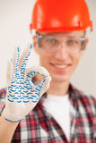 Master making a perfect gesture with his gloved hand royalty free stock photos