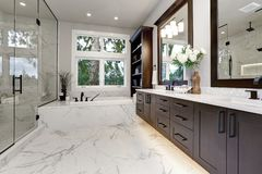 Master modern bathroom interior in luxury home with dark hardwood cabinets, white tub and glass door shower. Bathroom modern interior with dark hardwood cabinets stock image