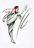 Master of oriental martial arts. Fighter. Ink and watercolor on paper painting Royalty Free Stock Photos