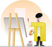 Master painter inspects his work. Cartoon-style illustration of painter pleased with his canvas situated on an easel in front of him Stock Photo