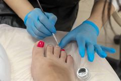 The master paints the toenails with varnish in silver and  pink  color royalty free stock photos