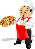 Master of pizza. Chef that keeps the pizza in the hands of royalty free illustration