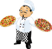 Master of pizza. Cook who holds 2 pizzas in the hands of vector illustration