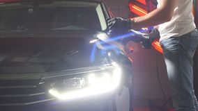 The process of polishing car body. stock footage
