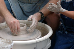 Master Potter and Student royalty free stock photography