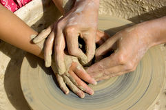 Master Potter and Student. Training Stock Photography