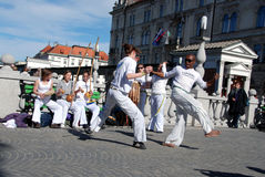 Master and pupils of capoeira Royalty Free Stock Photography