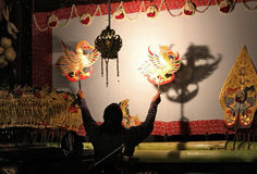 A master (puppeteer) of Javanese shadow puppet Stock Photo