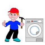 The master on repair of home appliances. Master of repair, service and maintenance of household appliances Royalty Free Stock Image