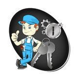 Master of repair of keys and locks. Illustration Royalty Free Stock Photo
