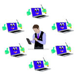 Master of repair of mobile phones and laptops. illustration for Royalty Free Stock Photography