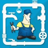 Master for repair plumbing illustration Royalty Free Stock Photo