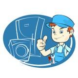 Repair of refrigerators and washing machines. Master of repair of refrigerators and washing machines Royalty Free Stock Photo