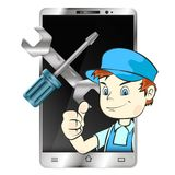 Repair of smartphones and phones. Master of repair smartphones and phone vector Royalty Free Stock Photography