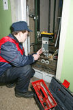 Master repairs the lift Stock Images
