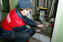 Master repairs the lift Stock Photo