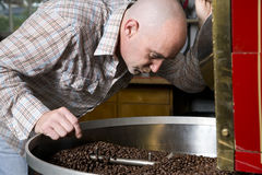 Master Coffee Roaster Checks Cooked Beans Royalty Free Stock Photography