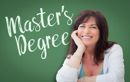 Master`s Degree Written On Green Chalkboard Behind Smiling Woman Stock Photos