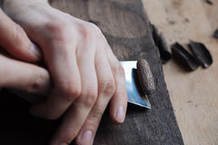 The master`s hands work with a wooden surface, a professional does wood crafts. Wood carving, the master`s hands work with a wooden surface, a professional does Royalty Free Stock Photo