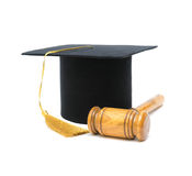 Master's hat and gavel on white background Royalty Free Stock Image