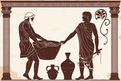 Master and slave. Ancient Greek mans. Manager at the household yard and his slave with a heavy basket in his hands. Figure on a beige background with the aging royalty free illustration