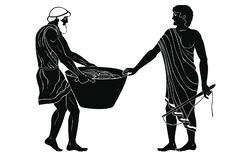 Master and slave. Ancient Greek mans. Manager at the household yard and his slave with a heavy basket in his hands. Figure isolated on white background royalty free illustration