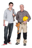 Master and student worker stock photo