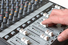 Master studio of the sound producer. Mixer in sound studio of the sound producer stock photo
