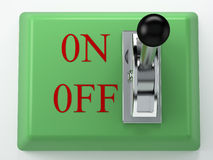 Master switch. Switch on green box with on-off Stock Images