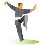 Master Tai Chi demonstrates a difficult pose. Experienced Master Tai Chi demonstrates a difficult pose Royalty Free Stock Photo