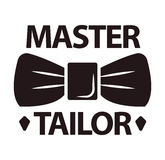 Master tailor logotype with man butterfly tie on white Stock Image