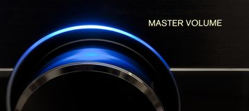 Master Volume Audio. Blue Master volume audio knob, form receiver Audio/Tv Royalty Free Stock Photos