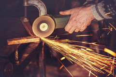 Master of welding seams angle grinder Stock Photos
