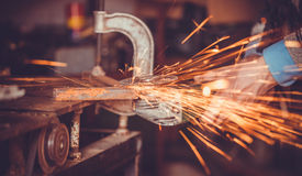 Master of welding seams angle grinder Stock Photography