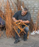 Master of wicker-work royalty free stock photography